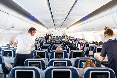 Frankfurt Germany 18.11.19 Condor Air airplane logo passengers and Board Crew inside a Boeing Airplane