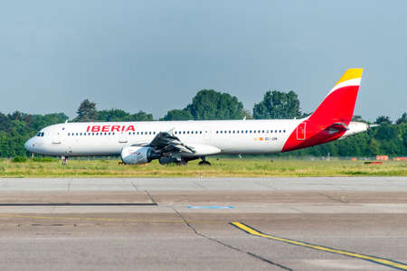 Frankfurt Germany 18.11.19 Iberia spanish Airline airplane jet being starting on the airport ready for takeoff