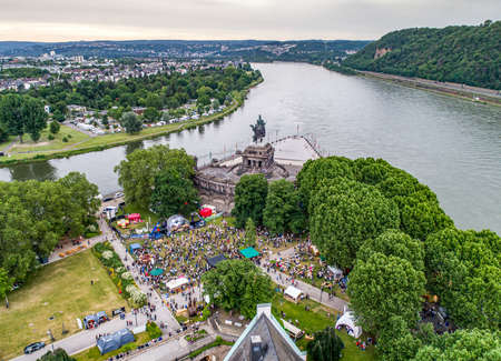 Koblenz City Germany 14.06.2019 Event Electronic wine at historic monument German Corner on a sunny day 新聞圖片