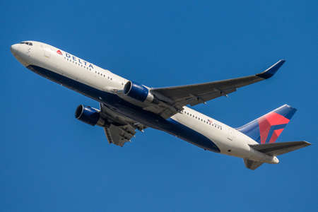 FRANKFURT GERMANY 11.08.2019 USA Delta AIRLINES Boeing 767-332 approaching to fraport airport on Blue sky N177DN