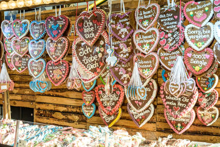 Koblenz Germany 27.09.2019 at Oktoberfest in europe Selling traditional sweets and gingerbread with different love text