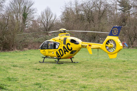Koblenz Germany 01.03.2020 ADAC rescue ambulance helicopter Christoph D-HSHP on green gras Airbus Rhineland-Palatinate