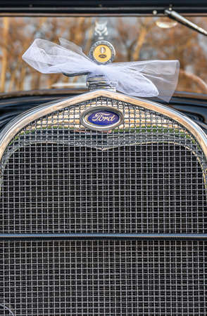 Koblenz Germany 12.12.2019 Front grill of Oldtimer old antique Ford Typ A Tudor Sedan, built at year 1928 during a Wedding Decorated