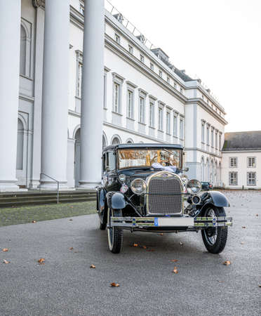 Koblenz Germany 12.12.2019 Oldtimer old antique Ford Typ A Tudor Sedan, built at year 1928 during a Wedding Decorated