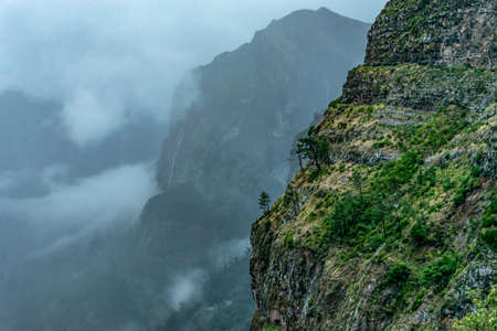 Panoramic mountains view from Eira do Serrado viewpoint on Madeira Island Portugal Stock Photo