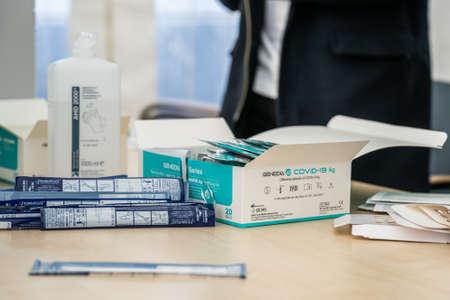 14.04.2021 Geneda Coronavirus COVID-19 diagnostic - swab sample collection kit, test tube for nasal swabbing