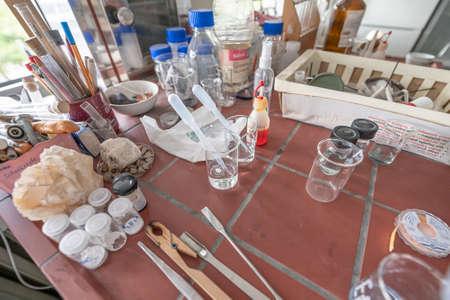 15.02.2021 Koblenz Germany chemistry laboratories in science classroom interior of university college school empty Laboratory