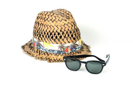 chapeau de paille: Chapeau de paille et de lunettes de soleil