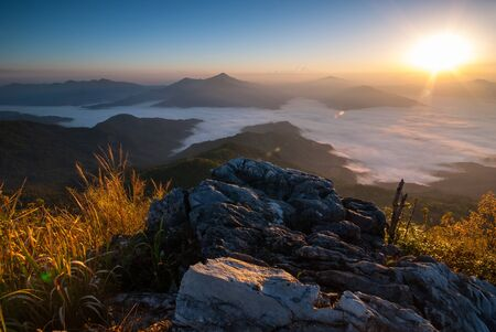 tang: Sunrise at Doi Pha Tang Chiang Rai Stock Photo