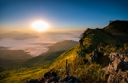 tang: Sunrise at Doi Pha Tang Chiang Rai Stock Photo