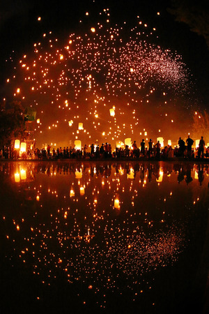 yeepeng: Floating lantern YeePeng Firework Festival in Chiangmai Thailand