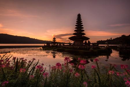 ulun: Temple on the Lake Pura Ulun Danu Bratan Bali Indonesia Stock Photo