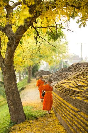 limosna: Monje budista caminando para recibir alimentos Foto de archivo
