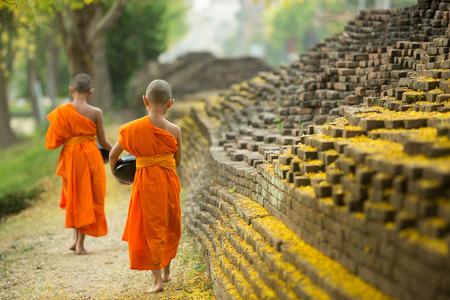 Monje budista caminando para recibir alimentos