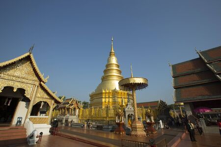 lamphun: Lamphun THAILAND  JANUARY 4 2015: Wat Phra That Hariphunchai is a Buddhist temple in Lamphun Thailand. Editorial