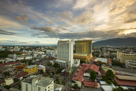 sky scape: Top view of Chiangmai city Scape the dawn Thailand Editorial
