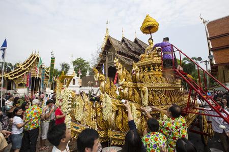 CHIANG MAI THAILAND  APRIL 13 2015: Wat Phra Singh Temple Songkran Festival in Chiangmai Thailand