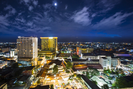 and scape: Top view of Chiangmai city Scape at Night Thailand