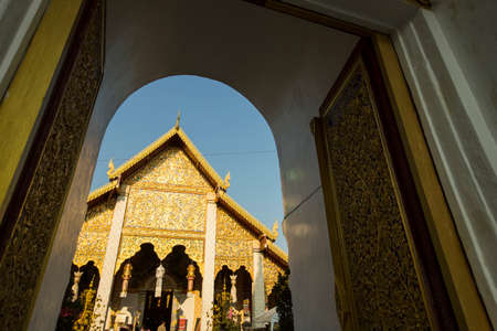 hariphunchai: Wat Phra That Hariphunchai is a Buddhist temple in Lamphun Thailand. Stock Photo