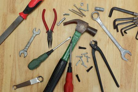 wood panel: Set of tools on a wood panel
