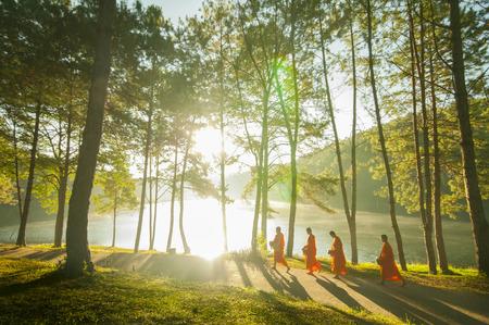 Boeddhistische Monnik Wandelen voor Ontvang Food at Pang Ung in Mae Hong SonThailand Stockfoto - 40739344
