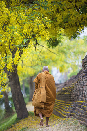 walled: Hike Thai Monk at the Chiang Mai Walled City Stock Photo