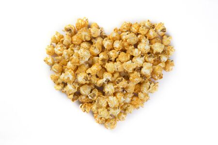 flavoured: Love Popcorn isolated on a white background with shadow Stock Photo