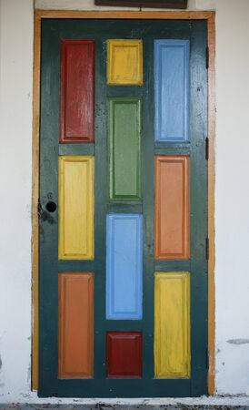 wooden doors: Colorful composition from wooden doors