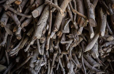 kindling: Firewood  Dry firewood in a pile for furnace kindling Stock Photo
