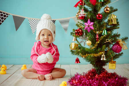 Baby with christmas background