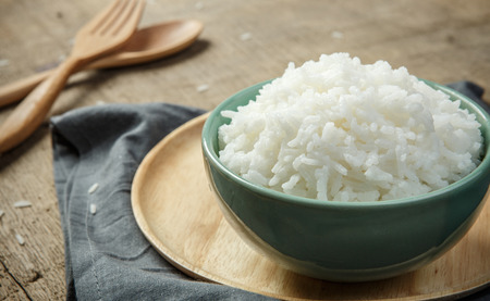 jasmine rice: Steamed rice close-up - soft focus