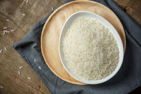 arroz blanco: Arroz blanco sin cocinar seco Foto de archivo