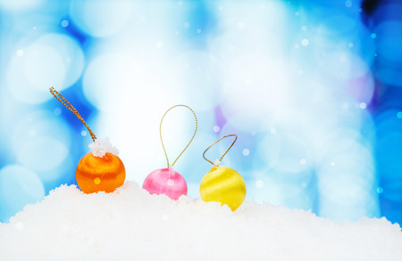 focus shot: Christmas decoration on abstract background and snowflakes - selective focus shot Stock Photo