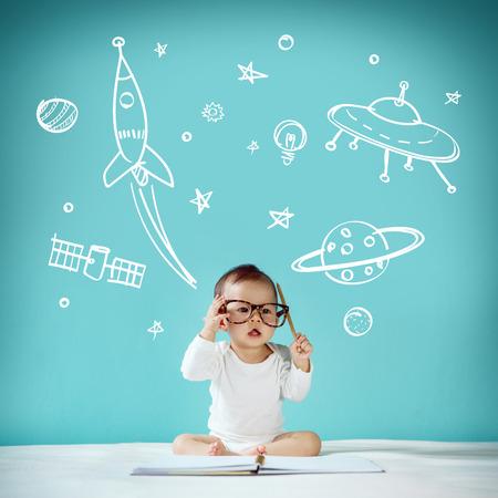 Little baby Space Dream Banque d'images