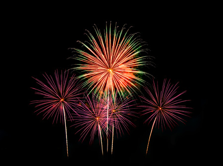 dazzling: Fireworks light up the sky with dazzling display  - Vibrant color effect Stock Photo