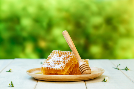 Sweet honeycomb and dipper, white wooden background Foto de archivo