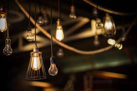 lamp light: Beautiful retro luxury light lamp decor glowing Stock Photo