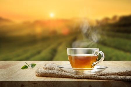 Taza de té caliente y hoja de té en la mesa de madera y el fondo de las plantaciones de té Foto de archivo - 68117482