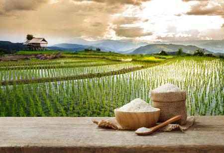 Arroz de jazmín en un tazón y saco en la mesa de madera con el fondo del campo de arroz