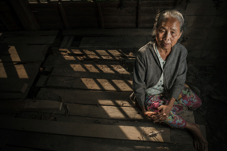 underdeveloped: Portrait of senior woman at the home
