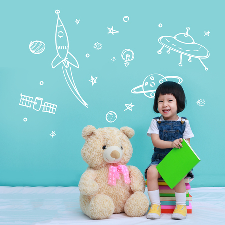 Baby or Little girl with Space Dream, Education concept