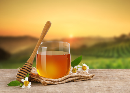 Honey Bee in glass jar with honey dipper and flowers on the wooden table, plantation background at sunrise or sunset