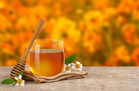 Honey Bee in glass jar with honey dipper and flowers on the wooden table, flower garden background at sunrise or sunset