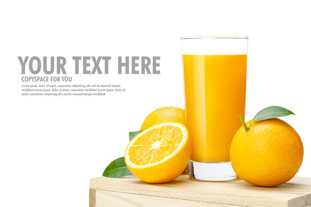 Glass of fresh orange juice on wooden box, Fresh fruits Orange juice in glass with group isolate on white background with copy Space for your text.