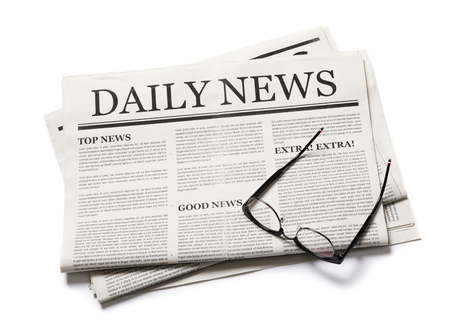 Business Newspaper with glasses isolated on white background, Daily Newspaper mock-up concept 스톡 콘텐츠