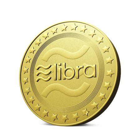 Libra Cryptocurrency digital golden coins, 3D rendering - Illustration