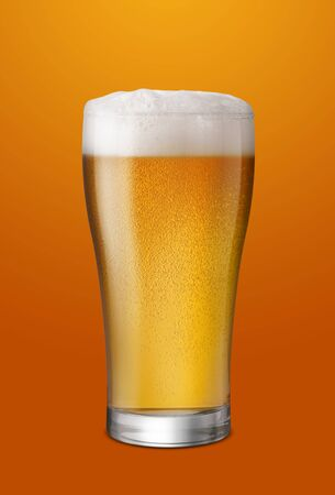 Glass of Light Beer isolate gloden background