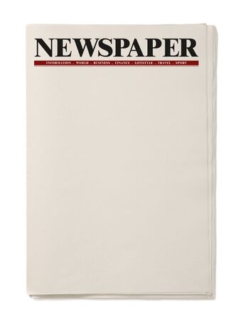 Blank Business Newspaper isolated on white background, Daily Newspaper mock-up concept 版權商用圖片