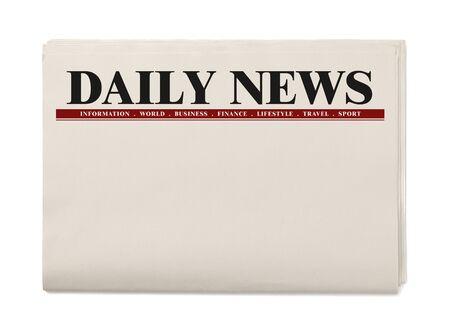 Journal quotidien vierge isolé sur fond blanc, concept de maquette de journal quotidien