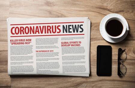 Mockup of Coronavirus Newspaper, News related of the COVID-19 with the the headline in paper media press production concept on wooden table